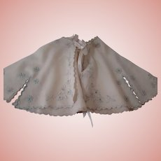 Soft Linsey Woolsey Ecru Cape with Silk Floral Embroidered Flowers and Scalloped Edges