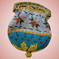 Antique Beaded Purse for Dolls 3-3/4 In. Long