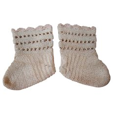 Pair of Antique Knitted Socks for Special Bebe