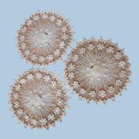 Three Circles of Decorative Antique Stitching on Netting--Beautiful!