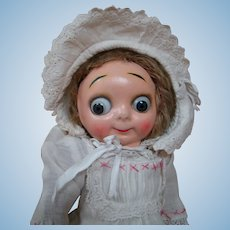 "Oh so cute!  12.5 In. "" Hug Me Kid "" German Composition Masked Face Googly Doll"
