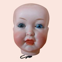 German Bisque Character Doll Head (Only) with Open / Closed Mouth, Solid Dome