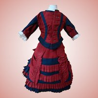 Two-piece Burgundy and Navy Walking Suit for 15-16 In. French Fashion