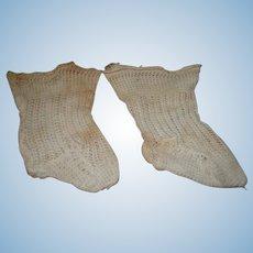 Original Antique Factory Socks for Larger Size Doll