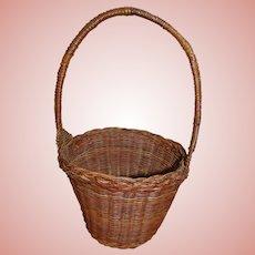 Vintage (Possibly Antique) Handled Woven Basket for Large Antique Doll