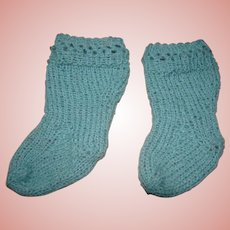 Vintage Robin's Egg Blue Wool Loosely Knitted Socks for Antique Doll