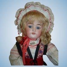 Remarkable 21 In. Blue-Eyed Blonde Kestner 168 in Scandinavian Costume