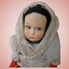 """Original 11 Inch Lenci Doll with Tags Paper """"Castrovillari,"""" Cloth """"Lenci"""""""
