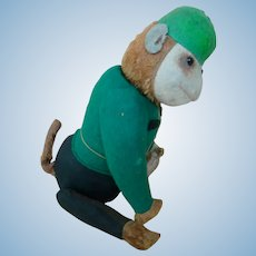 Rare 13 In. Schuco Yes/No Bellhop Monkey in Green Uniform