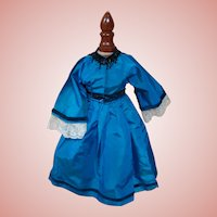 Vintage Two-Piece Blue Silk Taffeta Doll Dress for China, Parian or Other Lady Doll