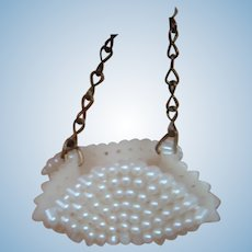 Sweet Little Vintage Faux Pearl Doll Basket / Container with Linked Metal Chain Handle