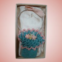 Wonderful Doll Accessory!  Woven Colorful Basket with Cloth Flowers and Handle