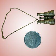 Very Ornate Miniature Brass Opera Glasses on a Gold Chain