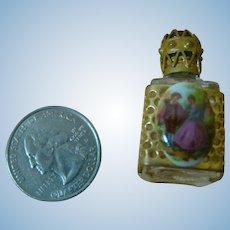 Miniature Perfume Bottle with Victorian Porcelain Scene