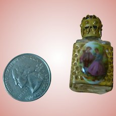 Miniature Perfume Bottle with Victorian Porcelain Scene
