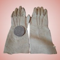 Very Soft Kid Leather White Gloves for a Doll