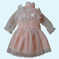 Vintage Two Piece Dress for 12-13 In. Doll, Peach and Ecru