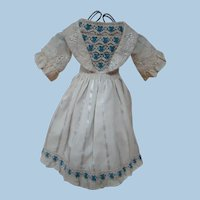Incredible Dress of Antique Fabrics and Trims for French Poupee or Other antique Doll
