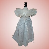 Light and Airy Summer Frock for Antique Slender Lady Doll, Blue Dotted Swiss