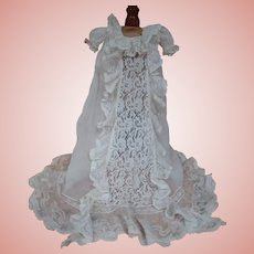 Beautiful Long Ruffled Lace Christening Gown for a Special Bebe