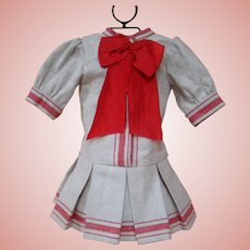 Wonderful Linen Mariner Drop Waist Dress with Red Woven Stripes and Red Bow
