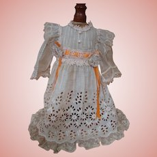 Exquisite Ecru Eyelet and Lace Dress for a 22-23 In. German or French Doll
