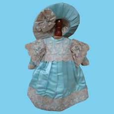 Vintage Artisan Couture Style Bebe Dress of Old Silk Satin and Lace