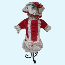 Red and Ecru Vintage Couture Style Bebe Dress and Hat