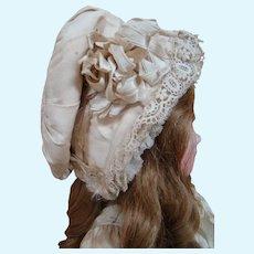 Gorgeous Antique Silk Faille Hat / Bonnet for a Large Doll, Ribbons, Lace Trim, Etc.