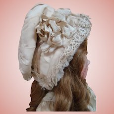 Gorgeous Antique Silk Faille Hat / Bonnet for a Large Doll, Ribbons, Lace Trim, Etc.