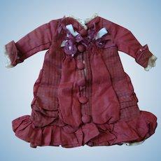 Silk Vintage Burgundy and Ecru Dress for 11 Inch Bebe, Fully Lined