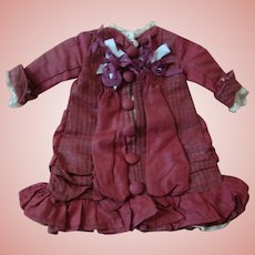 Silk Vintage Burgundy and Ecru Dress for 11 Inch Bebe, Fully Lined