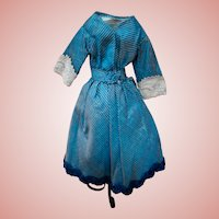 Beautiful Blue Striped Vintage Artist Made Dress for 16-17 In. French or German Lady Doll