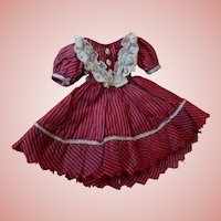 Saucy Cranberry Silk Pinstripe Dress for Early Small Infantine 1860-1880 Doll