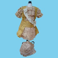Gold Silk and Lace Dress Artisan Made for Approx. 12 In. Antique French Bebe