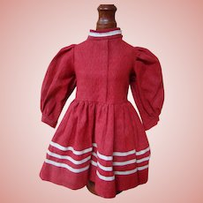 Red Cotton Antique Dress for 18-19 In. German Doll - Think Christmas!