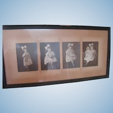 Antique Framed 4 Black and White Photos of Child Holding Doll