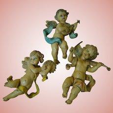 Set of 3 Italian-Made Cherubs Holding Musical Instruments