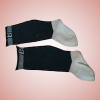"""Large Two-Toned Black and Ecru Cotton Doll Socks With Initial """"B"""""""