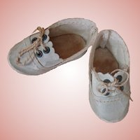 Antique Small Lace Up Ecru Doll Shoes, Original Ties