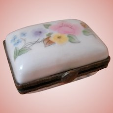 Mini Porcelain Etui with Hand-Painted Flowers, Sewing Supplies