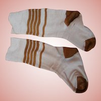 Old Pair of Cotton Socks for a Large Toddler or Child Doll