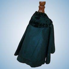 Antique Long Black Silk Taffeta Lined Cape, Velvet Collar, French Fashion, Etc.