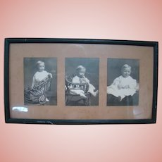 One Old Wood Frame with Three Black and White Photos of Toddler