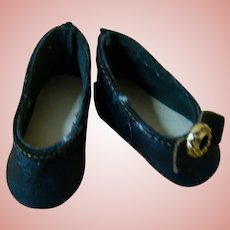 Tiny Black Leather Doll Shoes