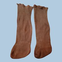 Pair of Rust Cotton Socks for Large Antique Doll