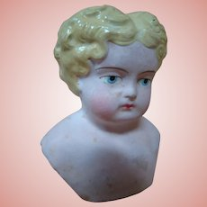 Beautiful Small Blond German Paper Mache Shoulder Head (Only)