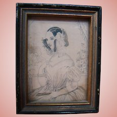 Old Miniature Framed Picture of Beautiful Victorian Lady