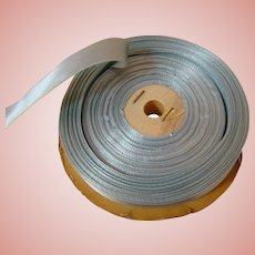 Very Old Spool of 5/8 in. Wide Robin's Egg Blue Silky Satiny Ribbon for Doll Dressing