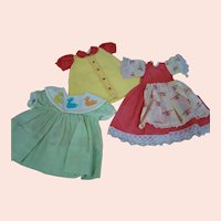 3 Adorable Original Factory Dresses for Hard Plastic Dolls from the 1950's-60's